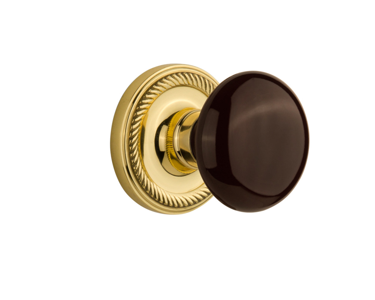 Nostalgic Warehouse Rope Rosette Double Dummy Brown Porcelain Door Knob in Polished Brass (NW-710664)