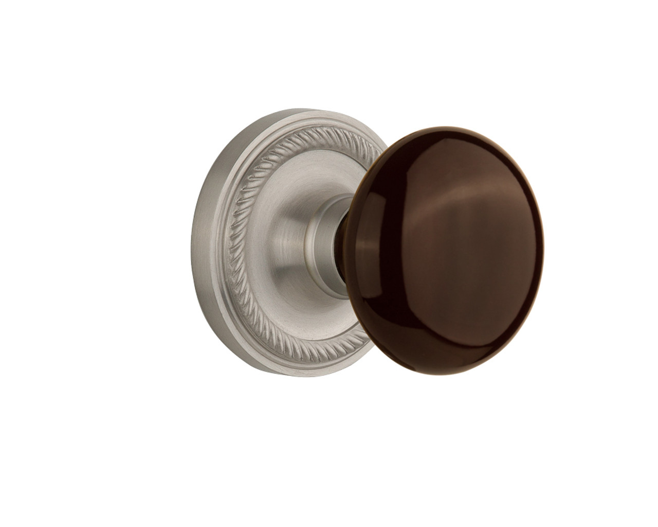 Nostalgic Warehouse Rope Rosette Double Dummy Brown Porcelain Door Knob in Satin Nickel (NW-710665)