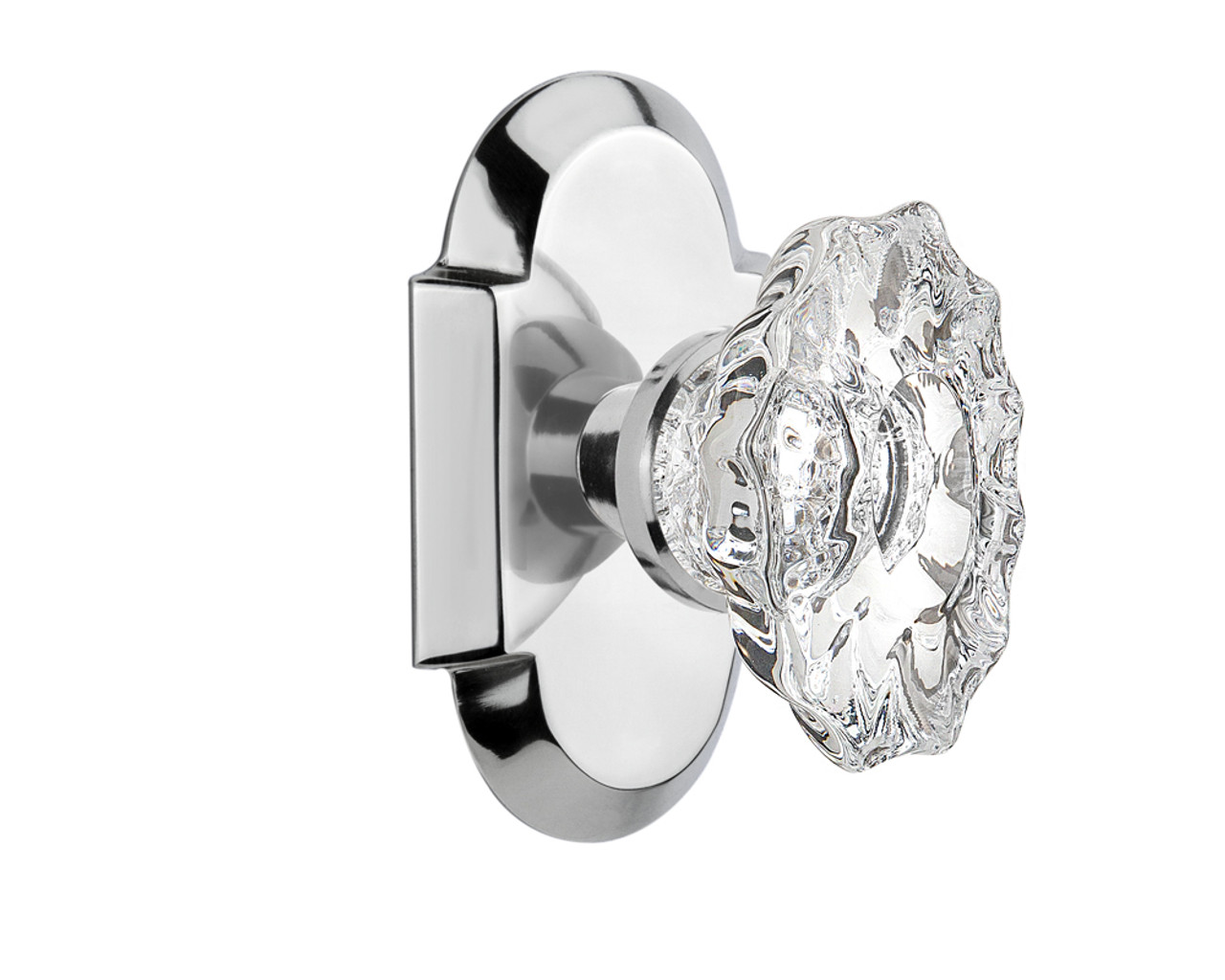 Nostalgic Warehouse Cottage Plate Double Dummy Chateau Door Knob in Bright Chrome (NW-713822)