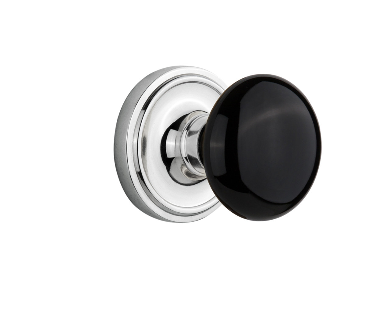 Nostalgic Warehouse Classic Plate Interior Mortise Black Porcelain Door Knob in Bright Chrome (NW-710386)
