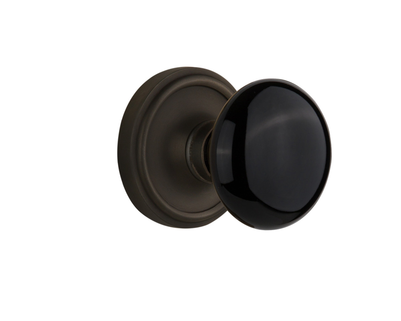 Nostalgic Warehouse Classic Plate Interior Mortise Black Porcelain Door Knob in Oil-Rubbed Bronze (NW-710387)
