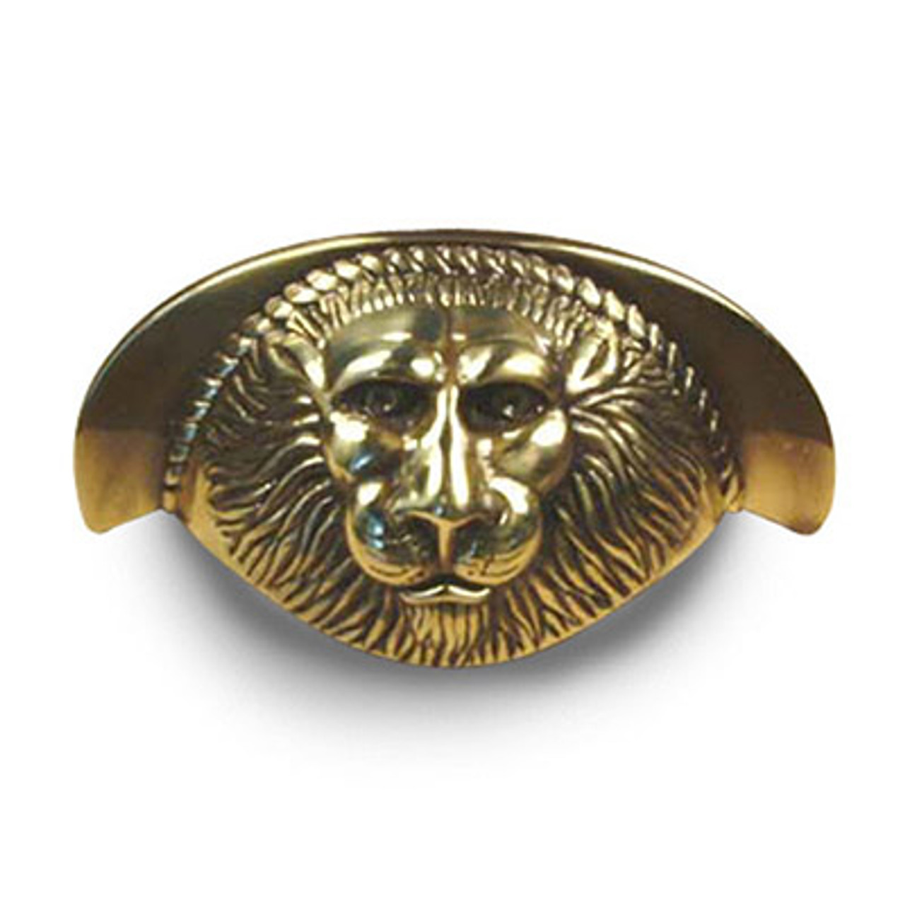 """Roman - Premium Solid Brass, Lion Head Cup Pull, 3"""" cc Polished Antique (CENT19343-PA)"""