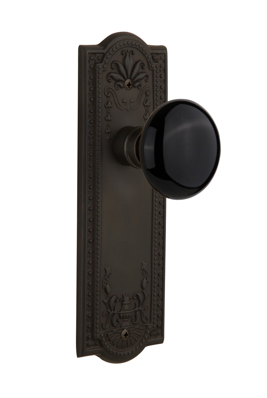 Nostalgic Warehouse Meadows Plate Double Dummy Black Porcelain Door Knob in Oil-Rubbed Bronze (NW-710209)