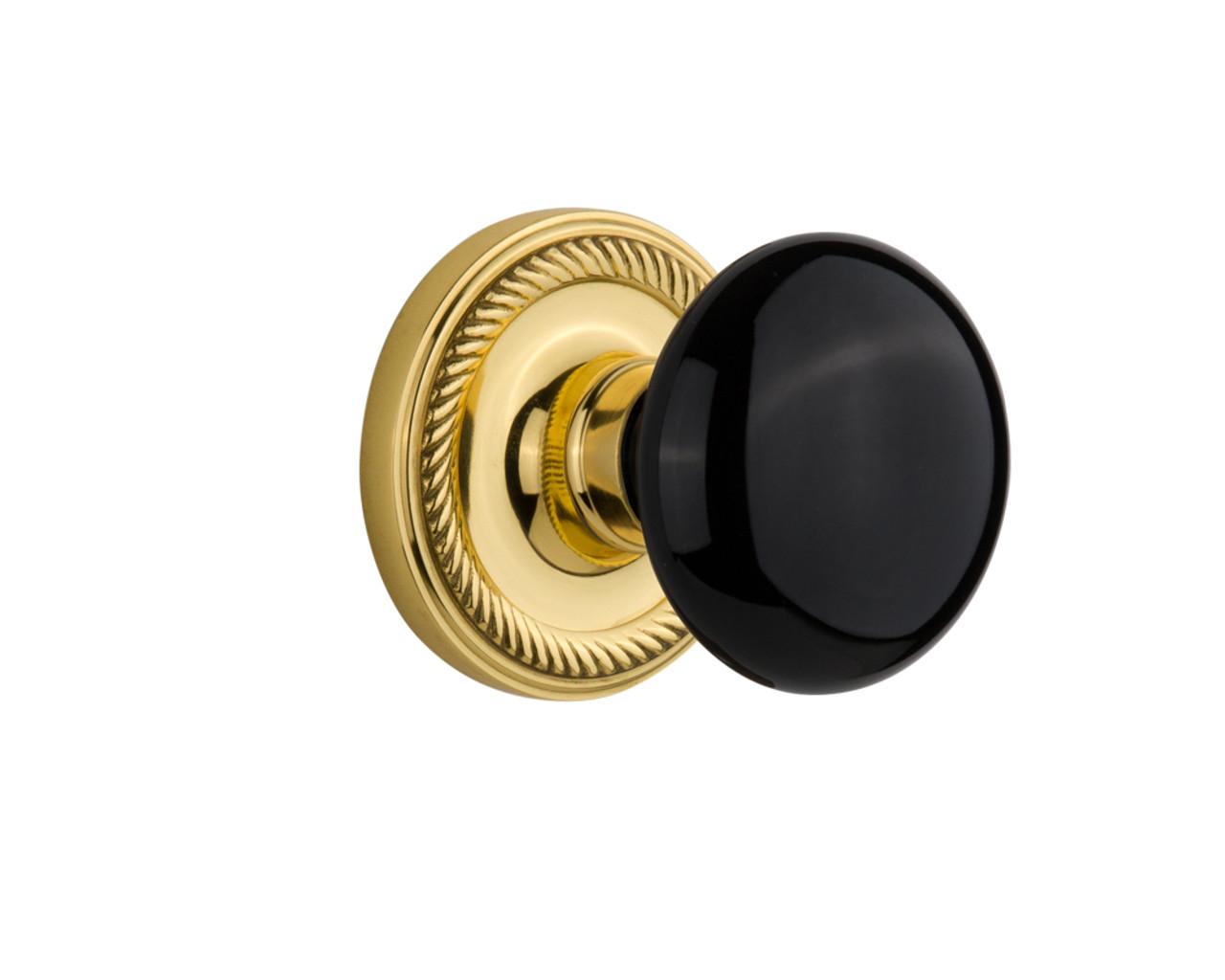 Nostalgic Warehouse Rope Rosette Double Dummy Black Porcelain Door Knob in Polished Brass (NW-710224)