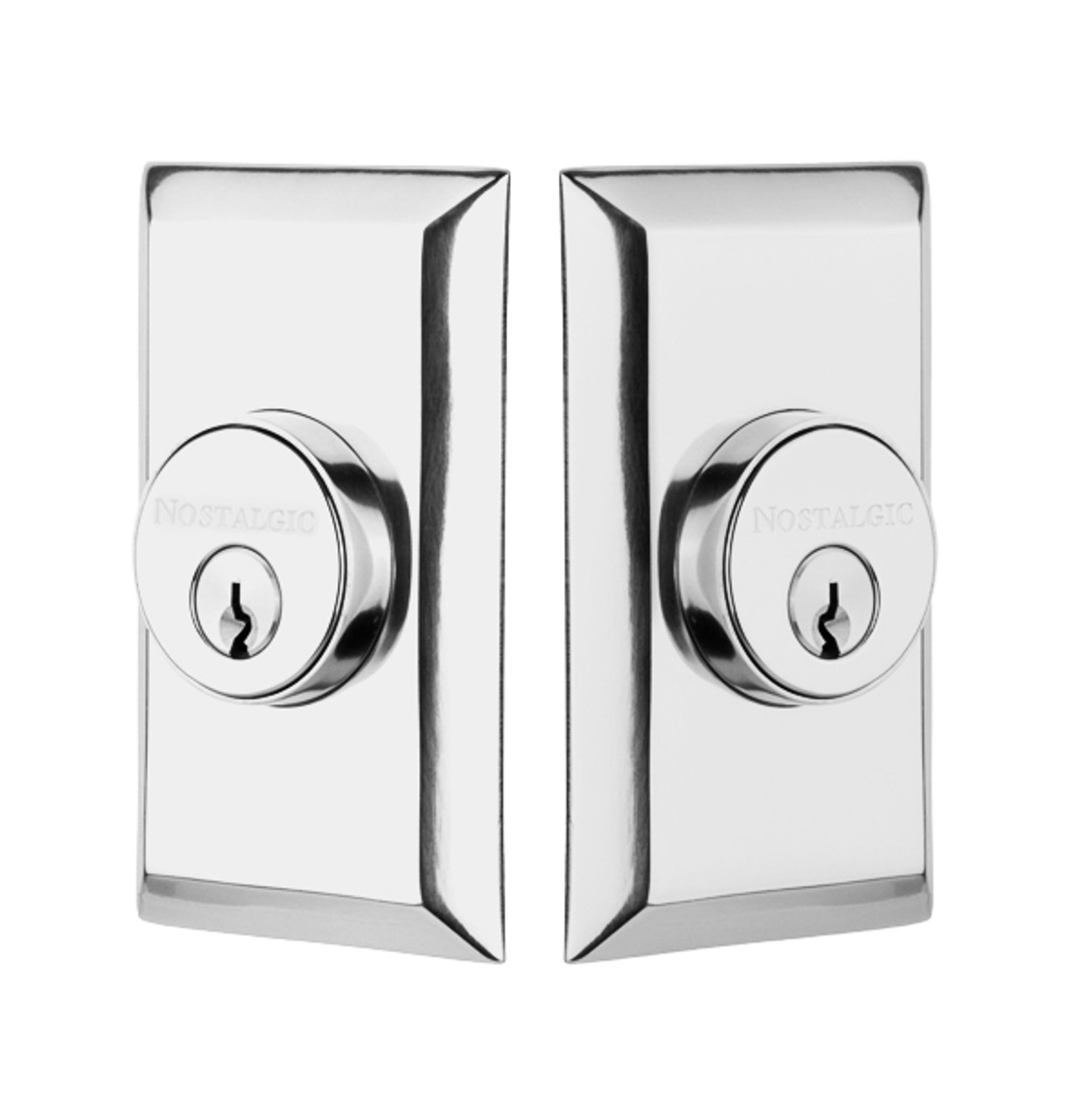Nostalgic Warehouse Studio Plate Double Cylinder Deadbolt in Bright Chrome (NW-715132)