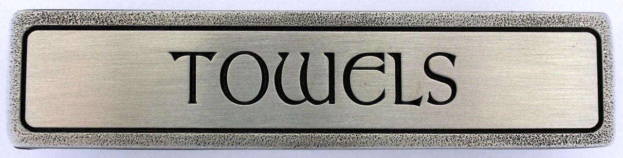 """TOWELS"" Pull Antique Pewter (Horizontal) (NHP-313-AP)"
