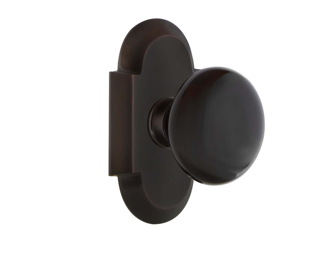 Nostalgic Warehouse Cottage Plate Double Dummy Black Porcelain Door Knob in Timeless Bronze (NW-700770)