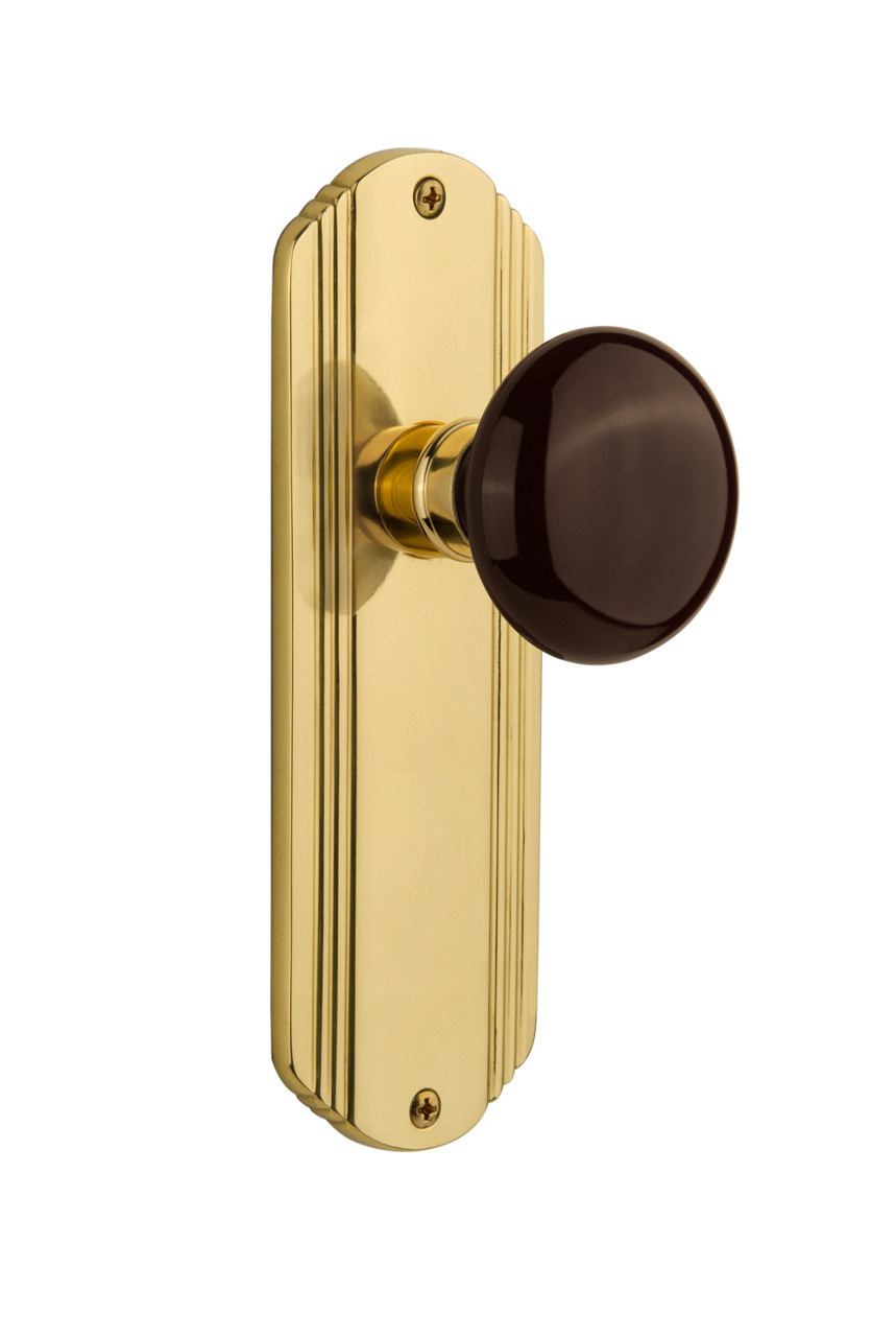 Nostalgic Warehouse Deco Plate Double Dummy Brown Porcelain Door Knob in Polished Brass (NW-706601)
