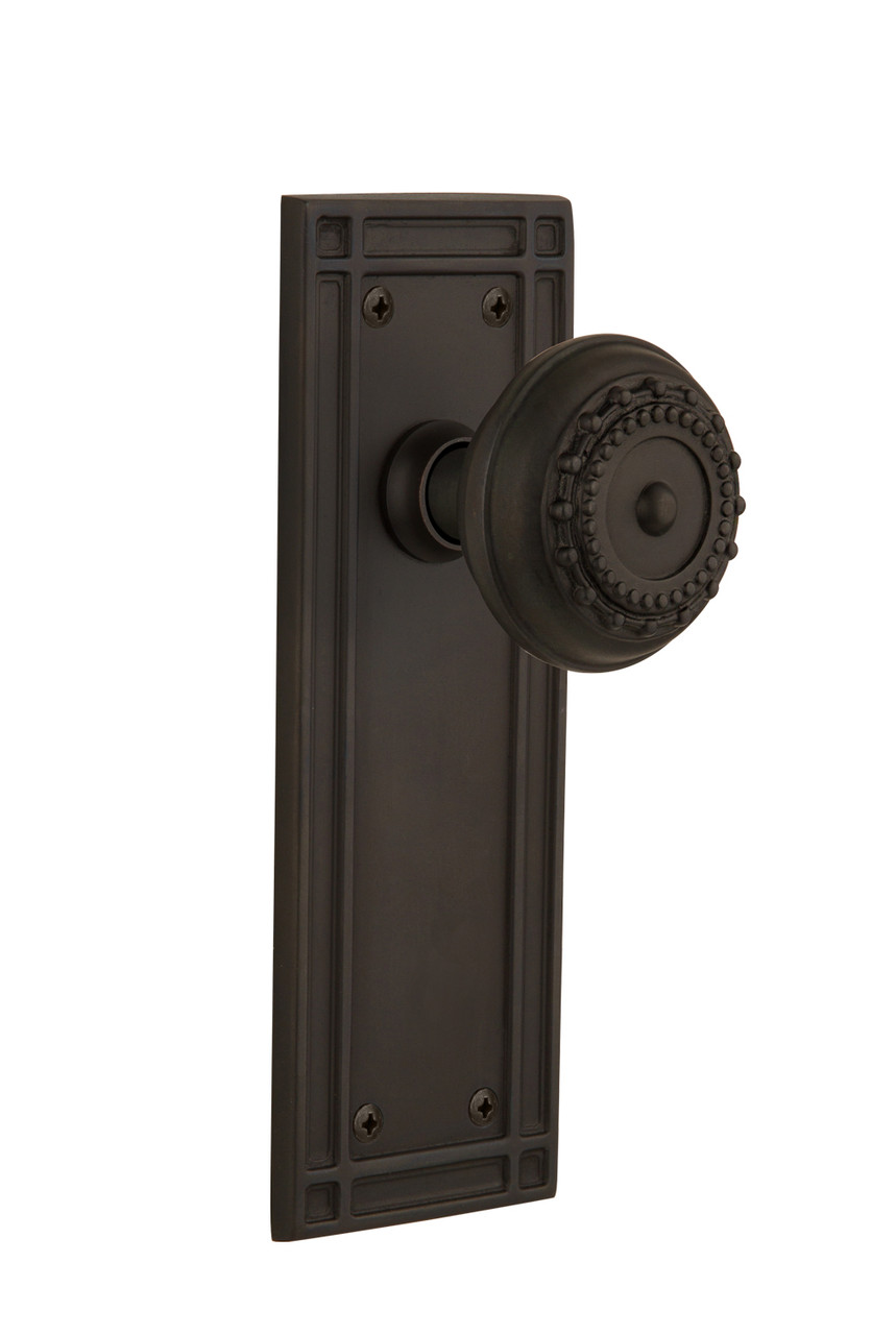 Nostalgic Warehouse Mission Plate Passage Meadows Door Knob in Oil-Rubbed Bronze (NW-709253)