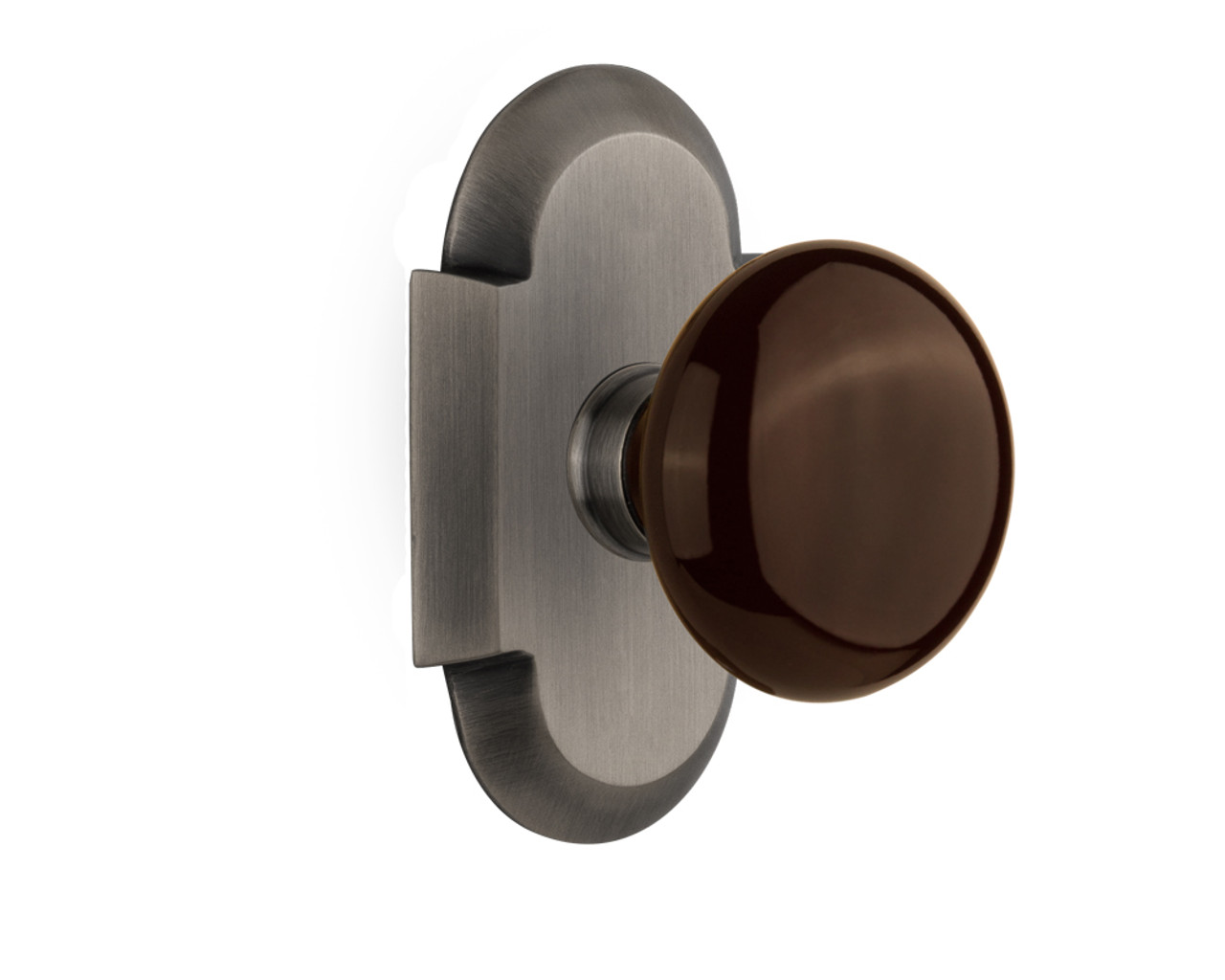 Nostalgic Warehouse Cottage Plate Double Dummy Brown Porcelain Door Knob in Antique Pewter (NW-713171)