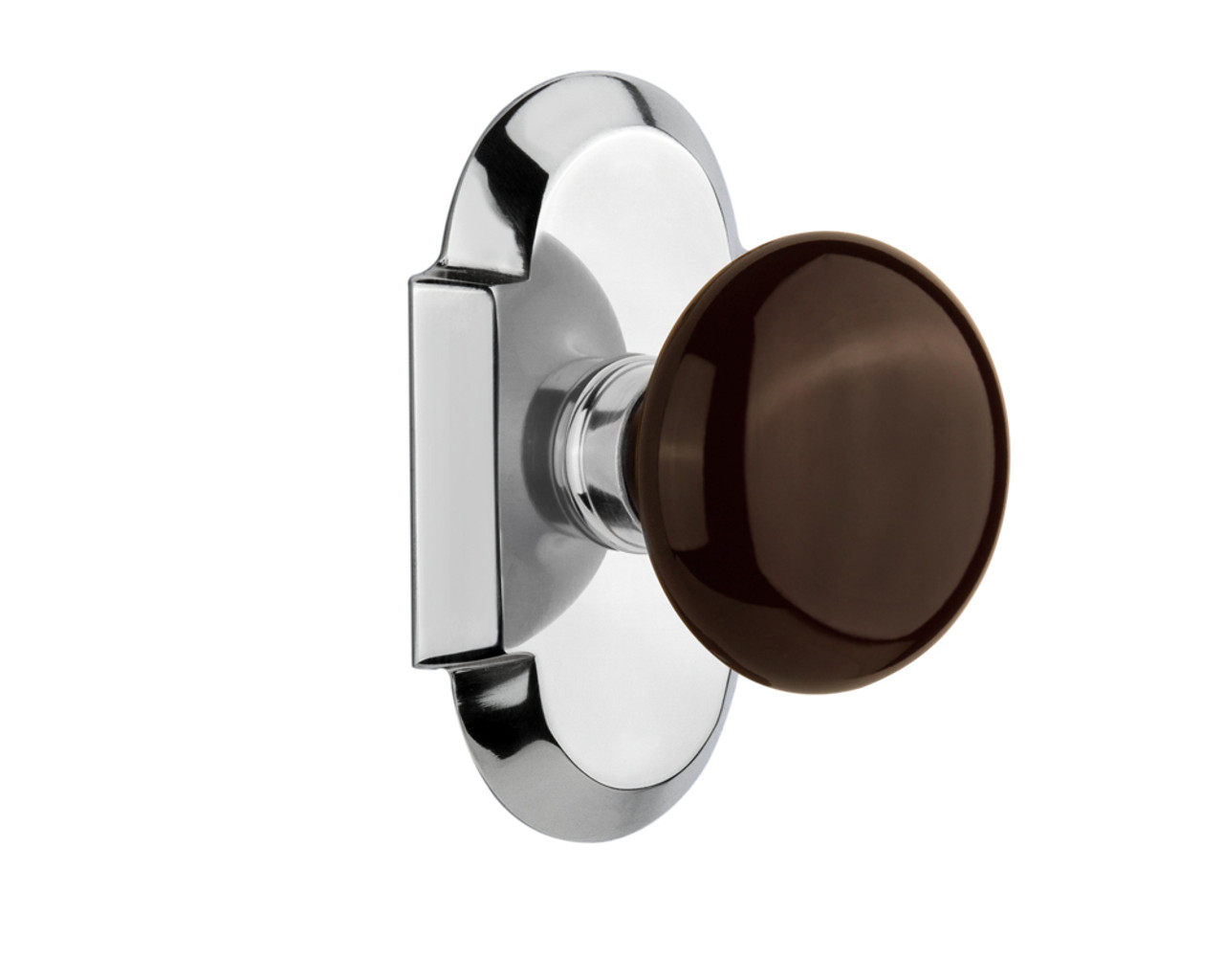 Nostalgic Warehouse Cottage Plate Double Dummy Brown Porcelain Door Knob in Bright Chrome (NW-713172)