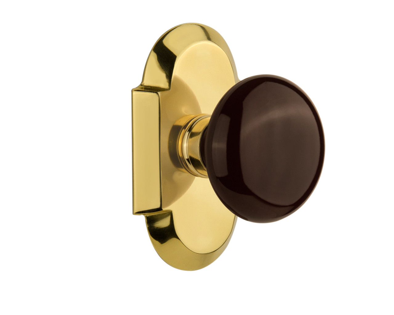 Nostalgic Warehouse Cottage Plate Double Dummy Brown Porcelain Door Knob in Polished Brass (NW-713174)