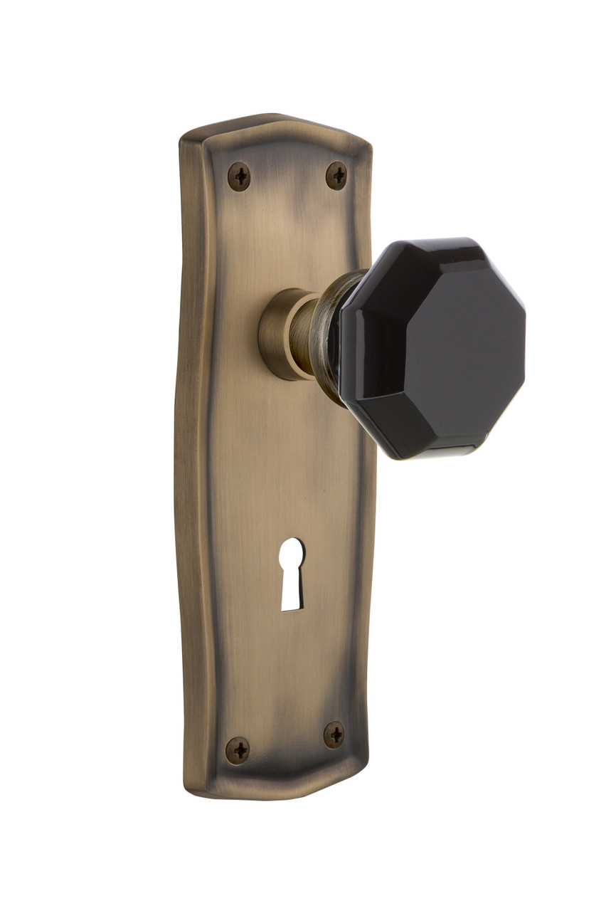 Nostalgic Warehouse 723016 Prairie Plate with Keyhole Single Dummy Waldorf Black Door Knob in Antique Brass