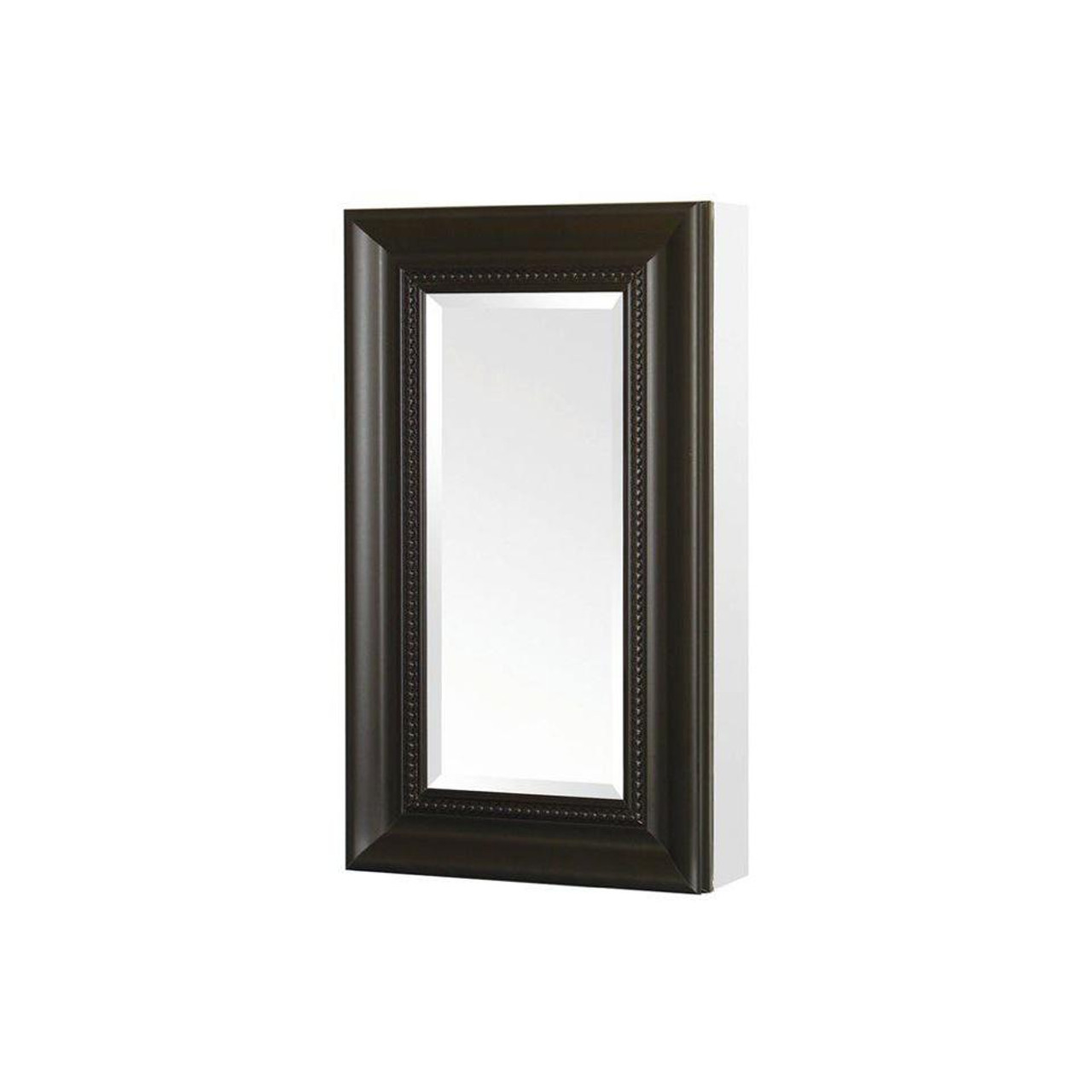 15 in. x 26 in. Recessed or Surface Mount Mirrored Medicine Cabinet with Framed Door in Espresso (PE-511410)