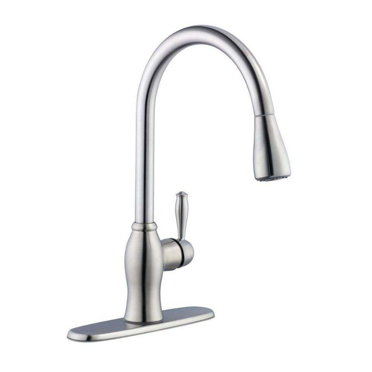 1050 Series Single-Handle Pull-Down Sprayer Kitchen Faucet in Stainless Steel (PE-577608)