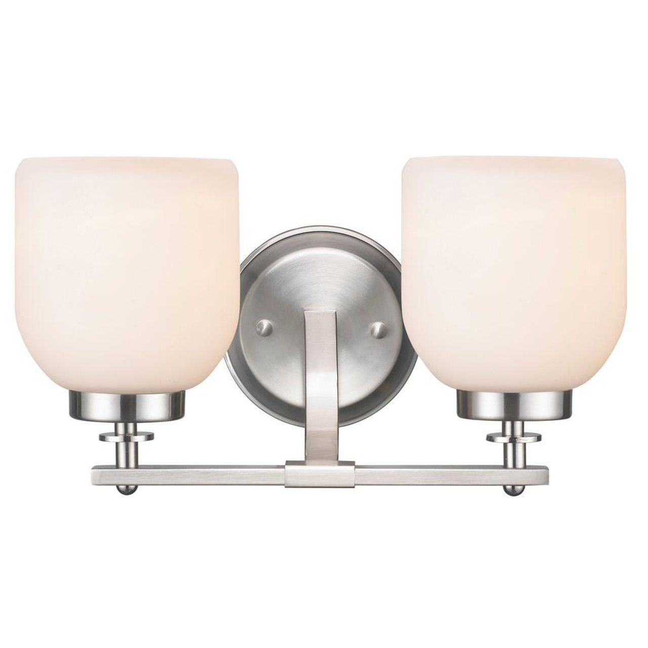 2-Light Brushed Nickel Sconce with White Frosted Glass Shade (WI-642519)