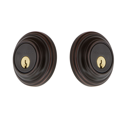 Nostalgic Warehouse Classic Rosette Double Cylinder Deadbolt in Timeless Bronze (NW-703952)