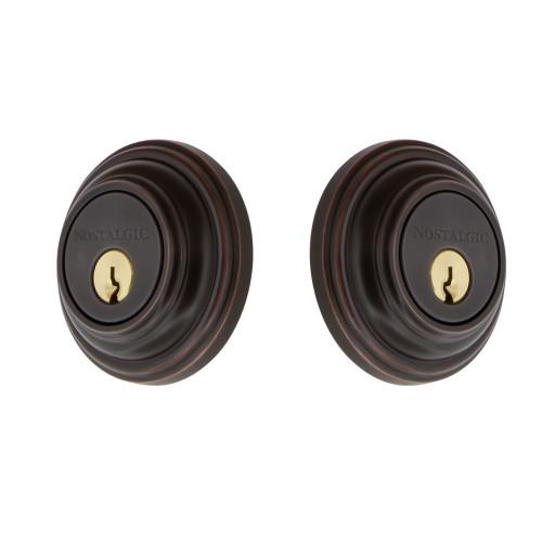 Nostalgic Warehouse Classic Rosette Double Cylinder Deadbolt in Timeless Bronze (NW-703952)