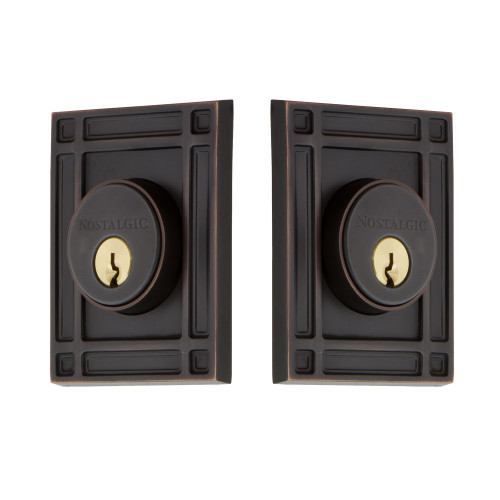 Nostalgic Warehouse Mission Plate Double Cylinder Deadbolt Mission Door Knob in Timeless Bronze (NW-703961)