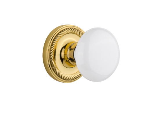 Nostalgic Warehouse Rope Rosette Single Dummy White Porcelain Door Knob in Unlacquered Brass (NW-716894)