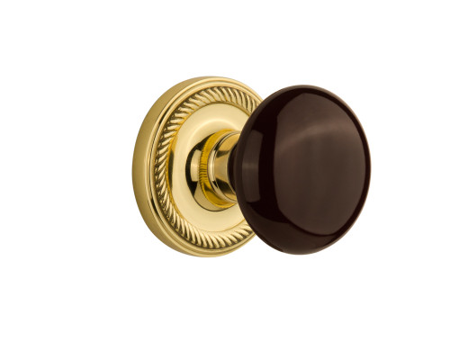 Nostalgic Warehouse Rope Rosette Single Dummy Brown Porcelain Door Knob in Unlacquered Brass (NW-716896)
