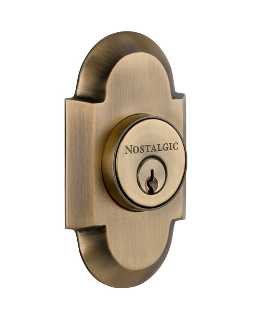 Nostalgic Warehouse Cottage Plate Double Cylinder Deadbolt in Antique Brass (NW-713202)