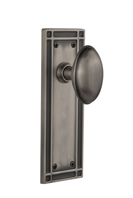 Nostalgic Warehouse Mission Plate Double Dummy Homestead Door Knob in Antique Pewter (NW-716071)