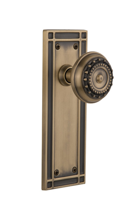 Nostalgic Warehouse Mission Plate Double Dummy Meadows Door Knob in Antique Brass (NW-716074)