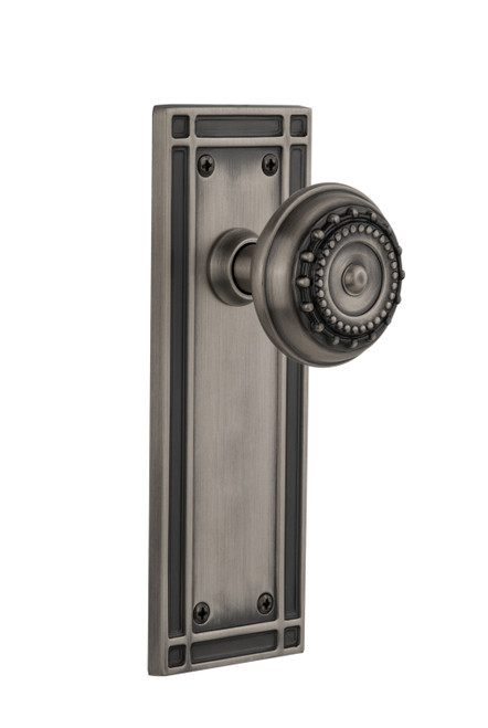 Nostalgic Warehouse Mission Plate Double Dummy Meadows Door Knob in Antique Pewter (NW-716075)
