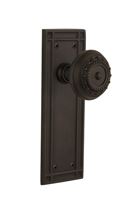 Nostalgic Warehouse Mission Plate Double Dummy Meadows Door Knob in Oil-Rubbed Bronze (NW-716076)