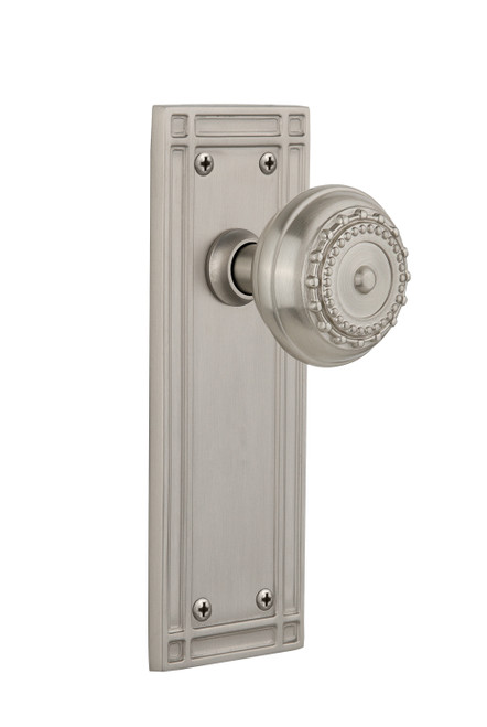 Nostalgic Warehouse Mission Plate Double Dummy Meadows Door Knob in Satin Nickel (NW-716077)