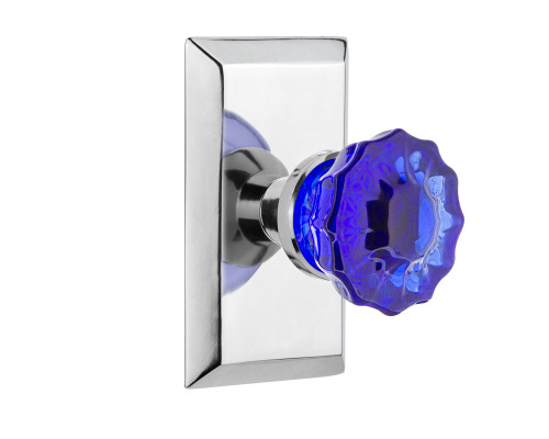 Nostalgic Warehouse Studio Plate Passage Crystal Cobalt Glass Door Knob in Bright Chrome (NW-721164)