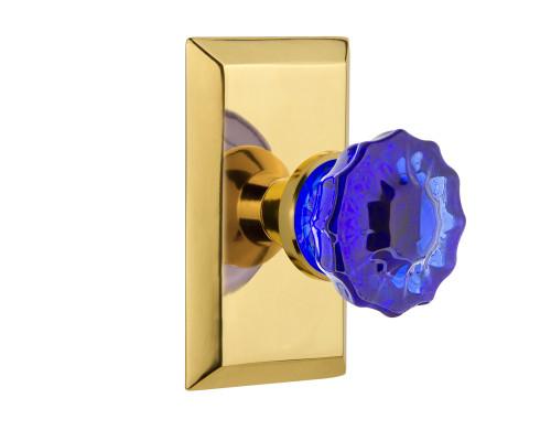 Nostalgic Warehouse Studio Plate Passage Crystal Cobalt Glass Door Knob in Polished Brass (NW-721170)