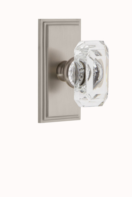2.375 Grandeur 827764 Carre Plate Passage with Baguette Crystal Knob in Polished Nickel