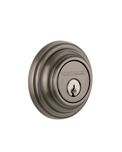 Nostalgic Warehouse Classic Rosette Double Cylinder Deadbolt in Antique Pewter (NW-702295)