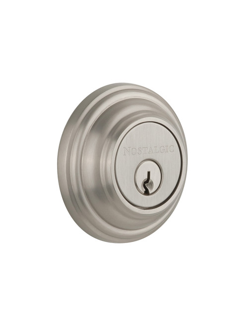 Nostalgic Warehouse Classic Rosette Double Cylinder Deadbolt in Satin Nickel (NW-702302)
