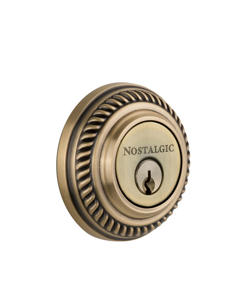 Nostalgic Warehouse Rope Rosette Double Cylinder Deadbolt in Antique Brass (NW-702307)