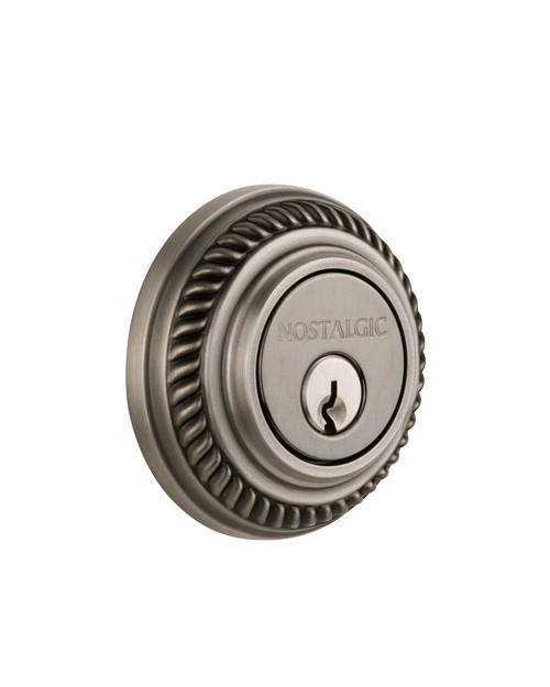 Nostalgic Warehouse Rope Rosette Double Cylinder Deadbolt in Antique Pewter (NW-702335)