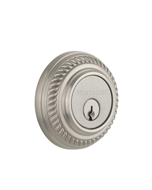 Nostalgic Warehouse Rope Rosette Double Cylinder Deadbolt in Satin Nickel (NW-702342)
