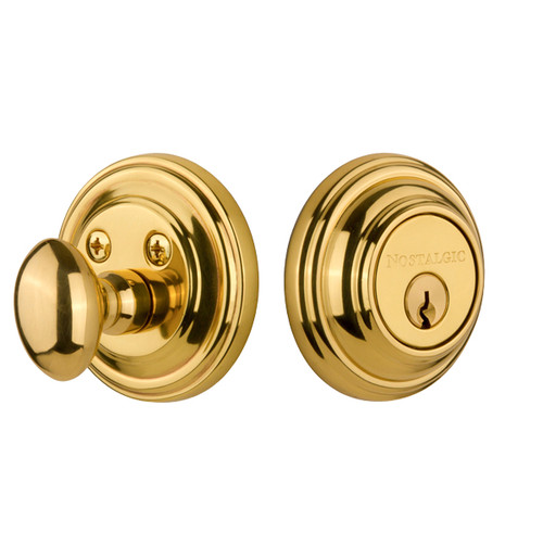 Nostalgic Warehouse Classic Rosette Single Cylinder Deadbolt in Unlacquered Brass (NW-702347)