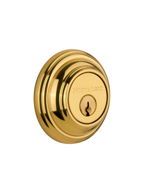 Nostalgic Warehouse Classic Rosette Double Cylinder Deadbolt in Unlacquered Brass (NW-702352)