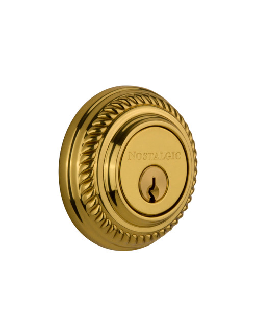 Nostalgic Warehouse Rope Rosette Double Cylinder Deadbolt in Unlacquered Brass (NW-702353)