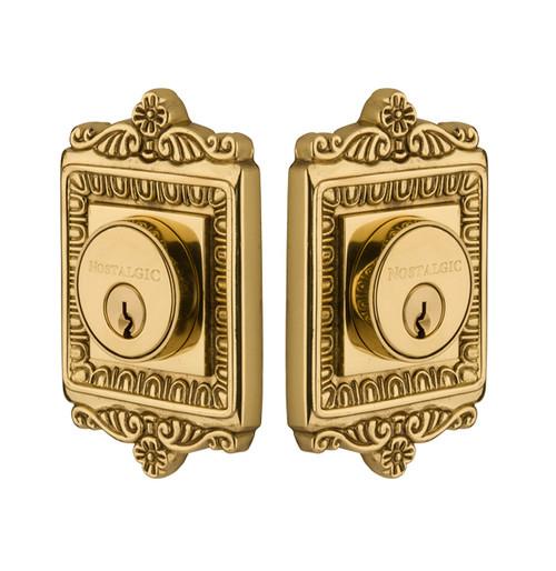 Nostalgic Warehouse Egg & Dart Plate Double Cylinder Deadbolt Egg & Dart Door Knob in Unlacquered Brass (NW-702358)