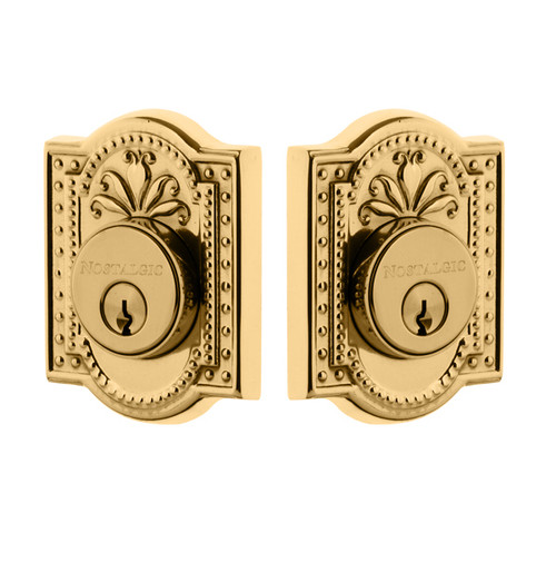 Nostalgic Warehouse Meadows Plate Double Cylinder Deadbolt Meadows Door Knob in Unlacquered Brass (NW-702360)