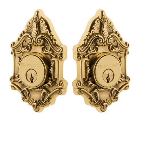 Nostalgic Warehouse Victorian Plate Double Cylinder Deadbolt Victorian Door Knob in Unlacquered Brass (NW-702362)