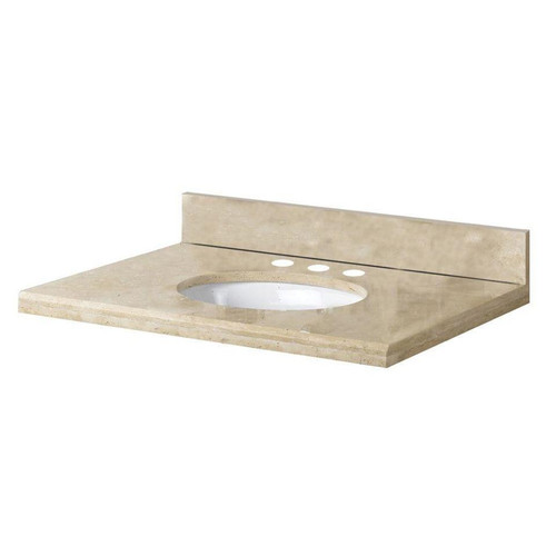 31 in. Travertine Vanity Top in Ivory Select with White Basin (PE-357869)