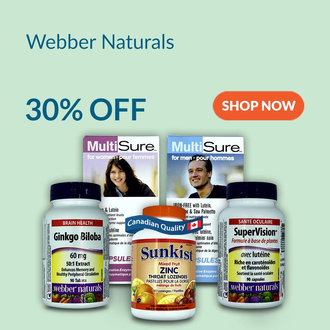 Webber Naturals Canadian Vitamins Flat 30% Off