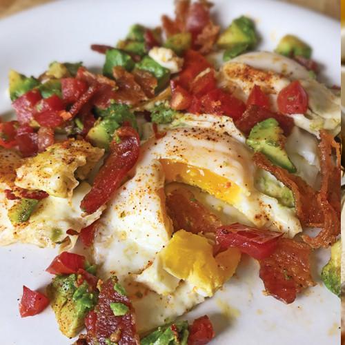 Spicy Bacon, Egg & Avocado Hash