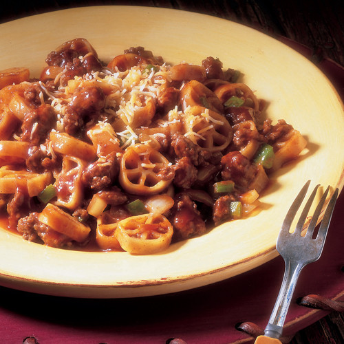 Fireside Beef and Wagon Wheel Pasta