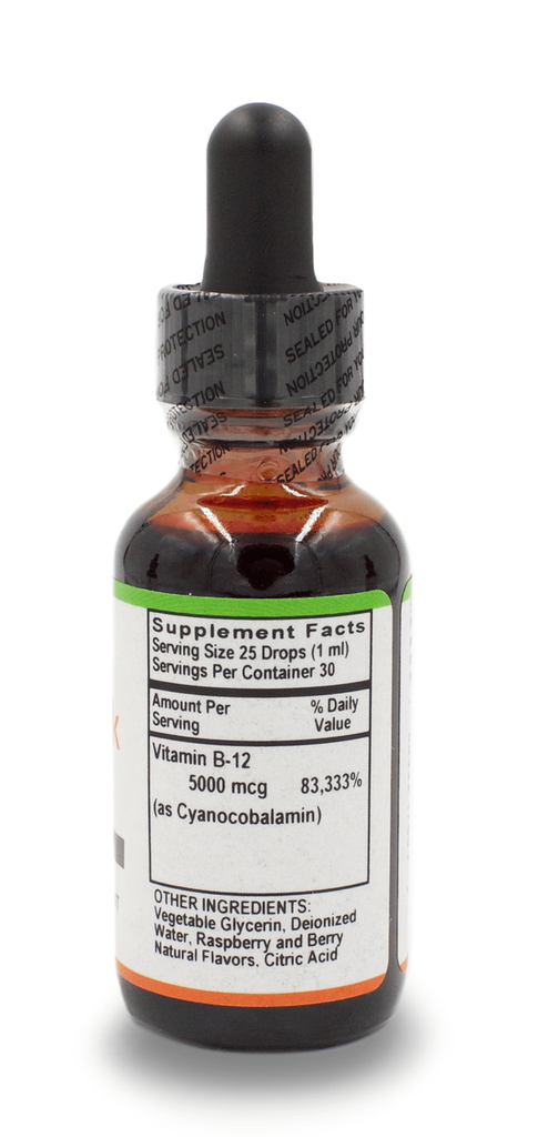 B-12 Liquid Drops 5,000 mcg Raspberry Flavor - 1 Oz. Bottle